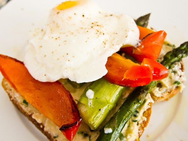 Poached Egg and Farmers Market Veg on Toast